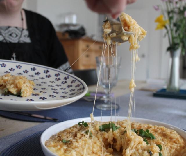 Risottó með tómatmauki og mozzarella