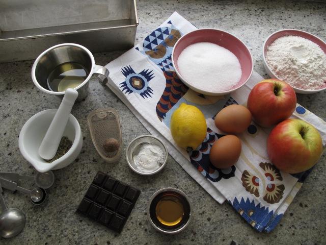 Krydduð eplakaka - hráefni